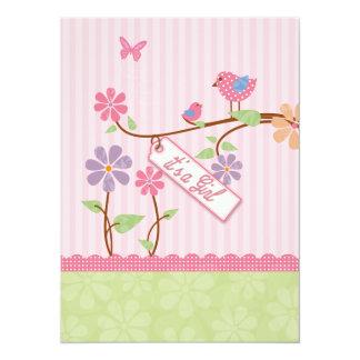 Baby Girl Shower Dots giraffe Invitation Card