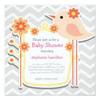 Baby girl shower gray chevron flower birds custom announcements