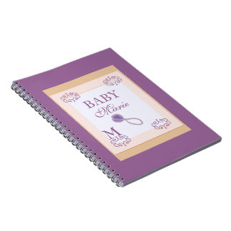 Baby girl shower guestbook stamp look notebook