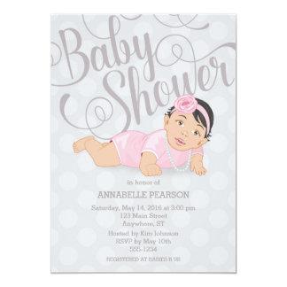 Baby Girl Shower Invitation Black Hair Brown Eyes