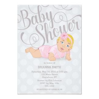 Baby Girl Shower Invitation Blonde Hair/Blue Eyes