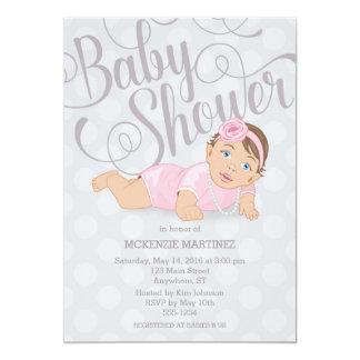 Baby Girl Shower Invitation Brunette/Blue Eyes