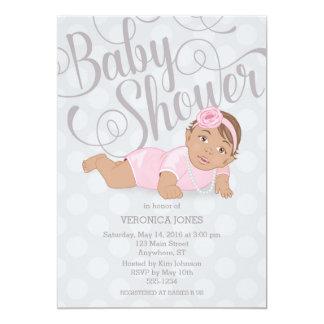 Baby Girl Shower Invitation Brunette / Brown Eyes
