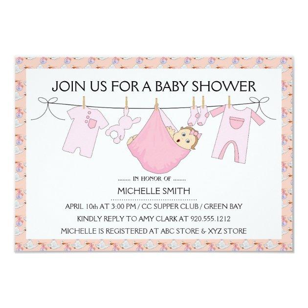 Baby Girl Shower Invitation Clothes Line Design