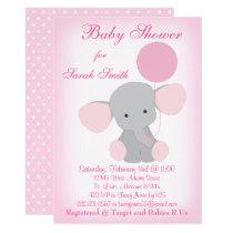 Baby Girl Shower Invitation Elephant Pink Gray