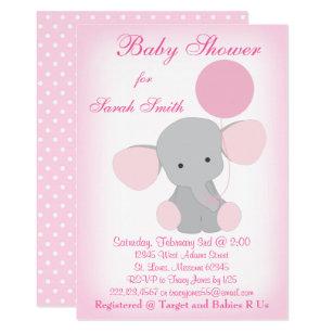 Baby girl shower invitations zazzle baby girl shower invitation elephant pink gray filmwisefo Images