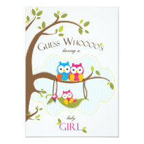 Baby Girl Shower Invitation - Owl Family