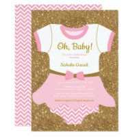 Baby girl Shower invitation, pajamas, romper Card