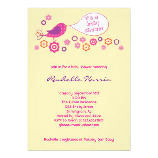 Baby Girl Shower Invitation with Bird and Flowers