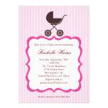 Baby Girl Shower Invitation with Stroller