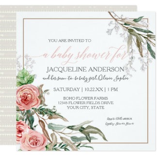 Baby Girl Shower Modern BOHO Arrows Watercolor Card