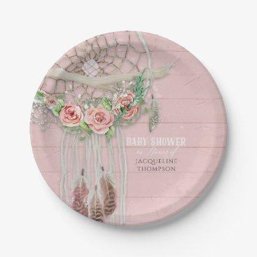 Toddler & Baby themed Baby Girl Shower Modern Floral Hot Pink Peach Rose Paper Plate