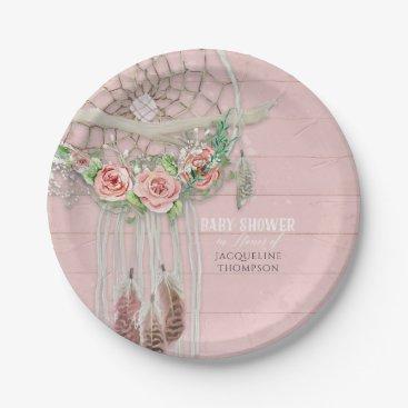 luxuryweddings Baby Girl Shower Modern Floral Hot Pink Peach Rose Paper Plate
