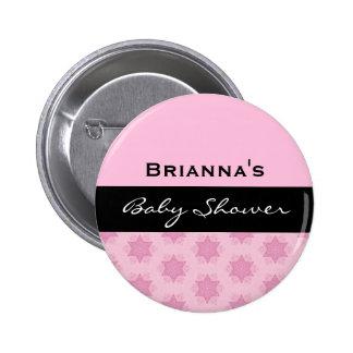 Baby Girl Shower Modern Pink Stars V04 Buttons