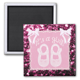 Baby girl shower Pink baby shoes, bows & sparkles 2 Inch Square Magnet