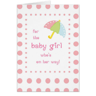 Baby Girl Shower, Pink Dots and Umbrella Card