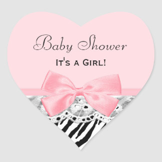 Baby Girl Shower Pink Ribbon and Lace Zebra Print Heart Sticker