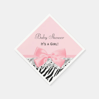 Baby Girl Shower Pink Ribbon and Lace Zebra Print Paper Napkin
