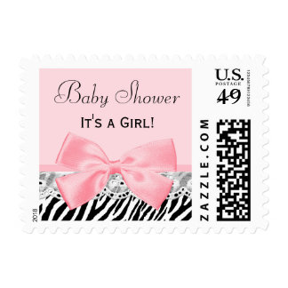 Baby Girl Shower Pink Ribbon and Lace Zebra Print Postage