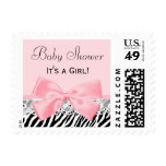 Baby Girl Shower Pink Ribbon and Lace Zebra Print Postage Stamp
