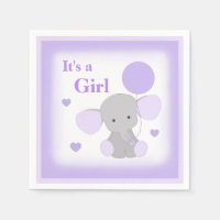 Baby Girl Shower Purple Elephant Sprinkle Party Paper Napkin