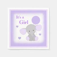 Baby Girl Shower Purple Elephant Sprinkle Party Paper Napkin