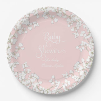 Baby Girl Shower Script Baby's Breath Wreath Paper Plate