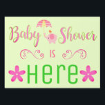 "Baby Girl Shower Sign<br><div class=""desc"">Adorable sign with stand to place in your yard helping all your guests find the party. DOUBLE-SIDED!</div>"