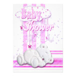 Baby girl shower teddy bear pink invitations