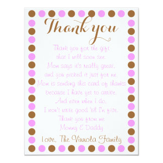 Baby girl shower thank you card from baby