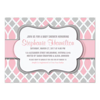 Baby girl shower trellis mosaic 4.5x6.25 paper invitation card