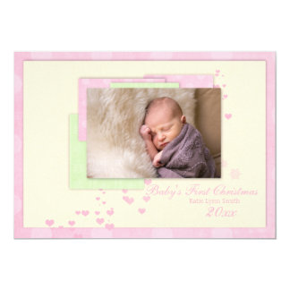Baby Girl single sided First Christmas Card