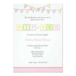 Baby Girl Sip and See Invitation
