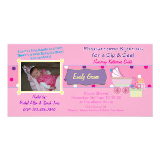 Baby Girl Sip and See Shower Photo Card Invitation