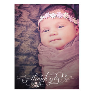 Baby Girl Sip & See Thank You Birth Announcement Postcard