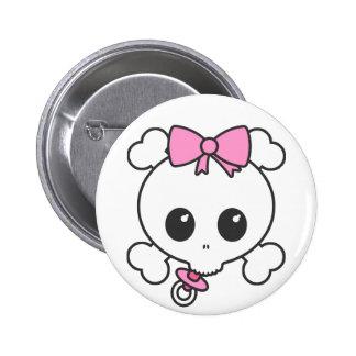 Baby Girl Skully 2 Inch Round Button