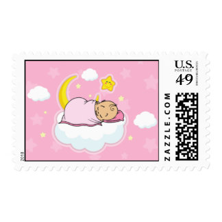Baby Girl Sleeping on Cloud Pink Baby Shower Stamp