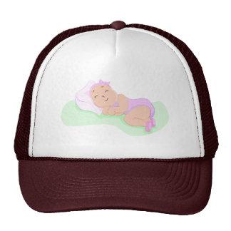 baby girl sleeping trucker hat