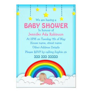 Baby Girl sleeping under a Rainbow Baby shower 5x7 Paper Invitation Card