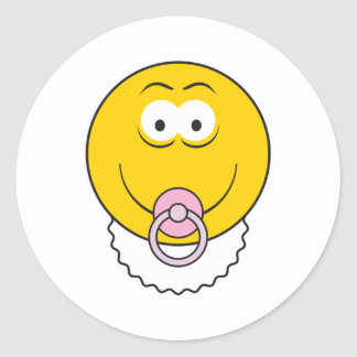 Baby Girl Smiley Face Round Stickers