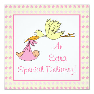 Baby Girl Special Delivery Stork Stars Baby Shower Announcements