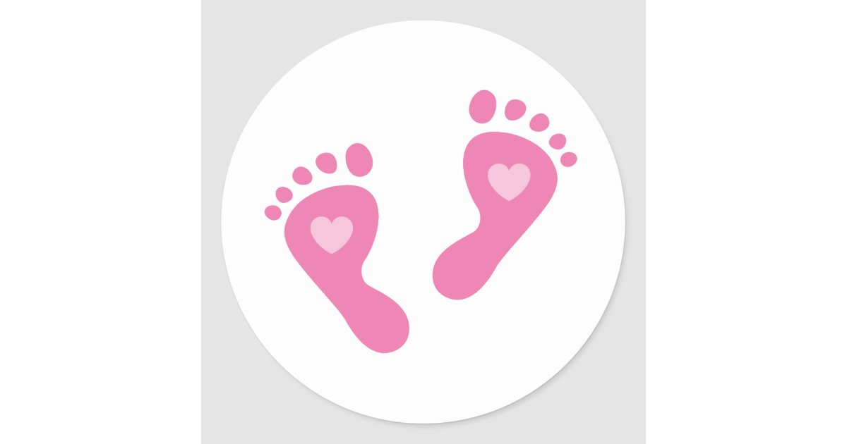 baby girl stickers with heart foot prints zazzle com