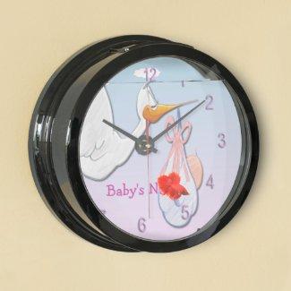 Baby Girl - Stork Aqua Clock