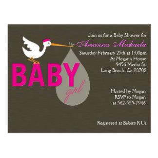 Baby Girl Stork Baby Shower Invitation Post Card