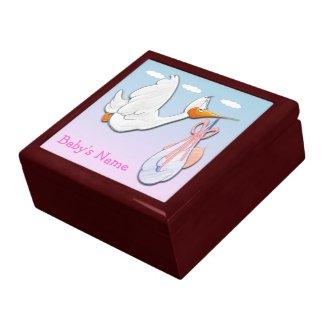 Baby Girl - Stork Gift Box/Trinket Box
