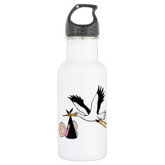Baby Girl & Stork - Newborn Water Bottle