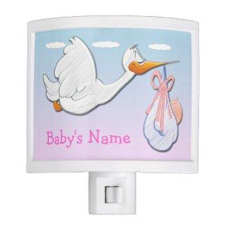 Baby Girl - Stork Night Light
