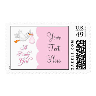 Baby Girl Stork Postage Stamp