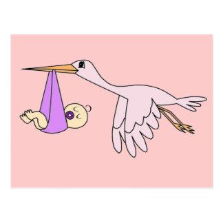 Baby Girl & Stork Postcard