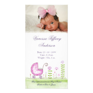 Baby Girl Stroller Birth Announcement Photo Cards